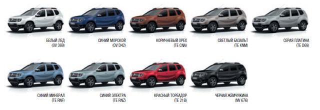 Renault Duster цвет кузова